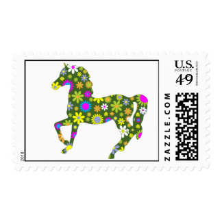 Horse funky retro floral flowers colorful prancing postage