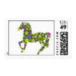 Horse funky retro floral flowers colorful prancing postage stamps