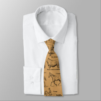 Horse Gaits from Antique French Encyclopedia Motif Neck Tie