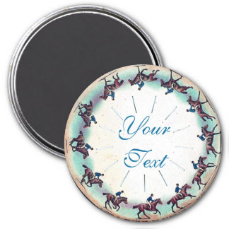 Horse Galloping 3 Inch Round Magnet