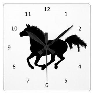 Horse galloping beautiful black silhouette clock