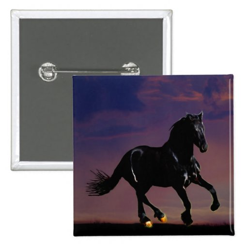 Horse galloping free 2 inch square button