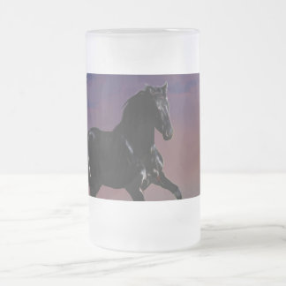 Horse galloping free frosted glass beer mug