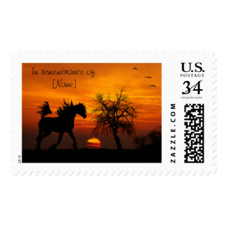 Horse Galloping In Sunset Postage
