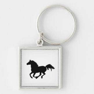 Horse galloping keychain, gift idea Silver-Colored square keychain