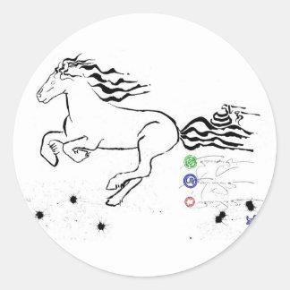 Horse galloping left (bw) [sticker]