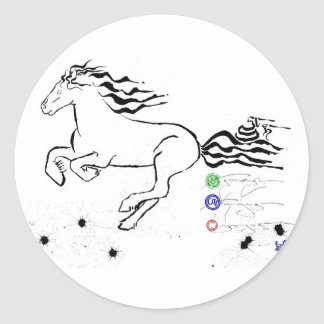Horse galloping left (bw) [sticker] classic round sticker