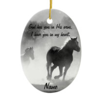 Horse Galloping Out of the Mist Ceramic Ornament