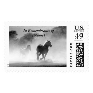 Horse Galloping Out of the Mist Silhouette Postage