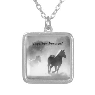 Horse Galloping Out of the Mist Silver Plated Necklace