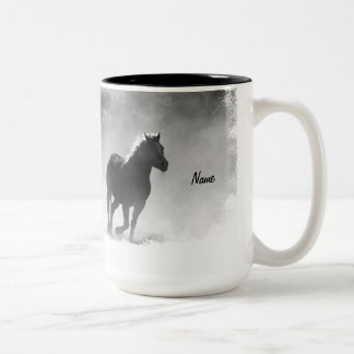 Horse Galloping Out of the Mist Two-Tone Coffee Mug