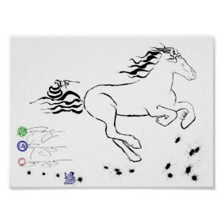 Horse galloping right (bw) [poster] poster