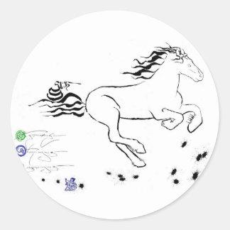 Horse galloping right (bw) [sticker] classic round sticker