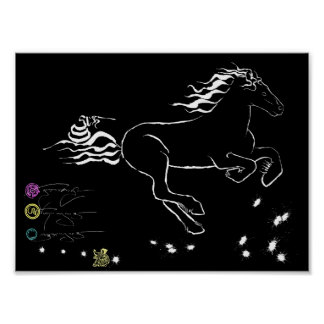 Horse galloping right (wb) [poster] poster