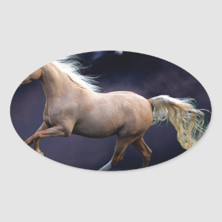 horse galloping oval sticker