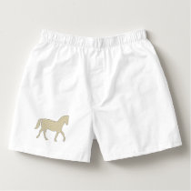 Horse - geometric pattern  - beige and white. boxers
