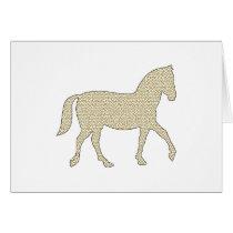 Horse - geometric pattern  - beige and white. card