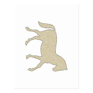 Horse - geometric pattern  - beige and white. postcard