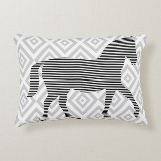 Horse - geometric pattern  - black and gray. accent pillow