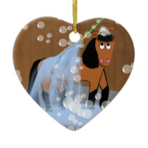 Horse Getting a Bath.tif Ceramic Ornament