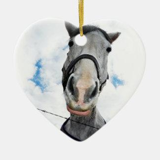 Horse Getting Lippy -  Funny Face Ceramic Ornament