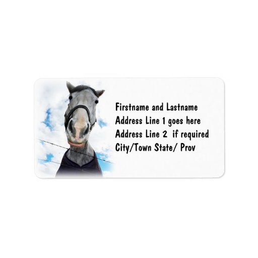 Horse Getting Lippy -  Funny Face Personalized Address Label