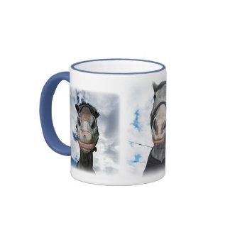Horse Getting Lippy -  Funny Face Ringer Mug