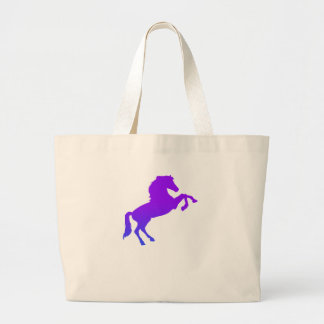 Horse graphic blue and purple large tote bag