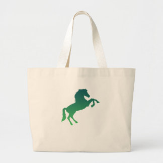 Horse graphic dark green large tote bag