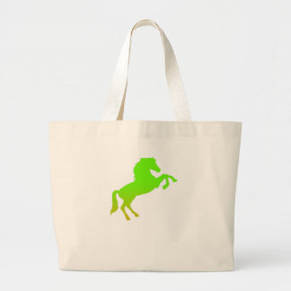 Horse graphic green large tote bag