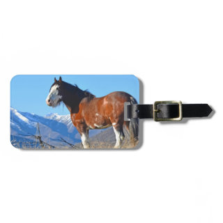 Horse Grass and Mountains Travel Bag Tags