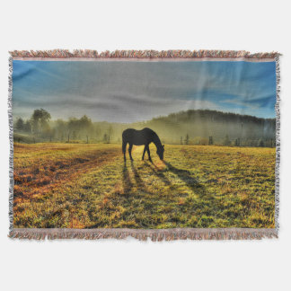 Horse Grazing at Sunrise in Misty Field Photo Throw Blanket