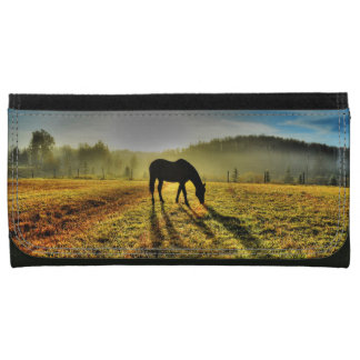 Horse Grazing at Sunrise in Misty Field Photo Wallet