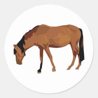 Horse Grazing Classic Round Sticker