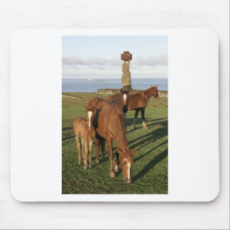 Horse grazing in Easter Island (Rapa Nui). Mouse Pad