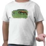 Horse grazing in pasture with colt. tshirts