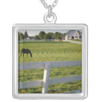 Horse grazing on farm silver plated necklace