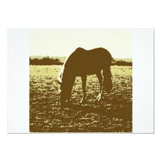 Horse Grazing Pop Art 5x7 Paper Invitation Card