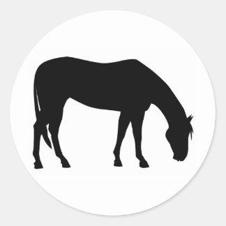 Horse Grazing Round Sticker