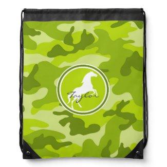 Horse; green camo, camouflage drawstring bag