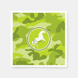 Horse;  green camo, camouflage paper napkins