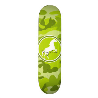 Horse;  green camo, camouflage skate board decks