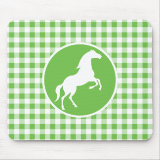 Horse; Green Gingham Mouse Pad