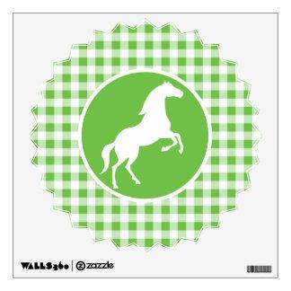 Horse; Green Gingham Wall Sticker