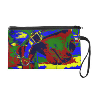 Horse halter muzzle hay grass red blue graphic wristlet clutches
