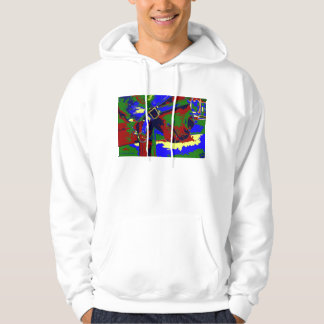 Horse halter muzzle hay grass red blue graphic hoodie