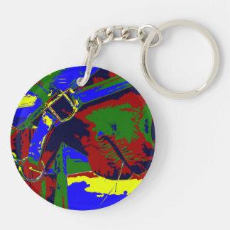 Horse halter muzzle hay grass red blue graphic keychain