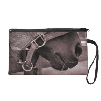 Horse halter muzzle hay grass sepia wristlet clutch