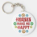 Horse Happiness Basic Round Button Keychain