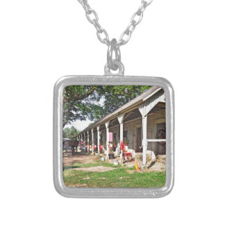 Horse Haven Barns at Saratoga Silver Plated Necklace